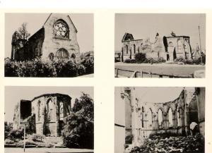 Die im Juli 1944 zerstörte Kirche St. Katharina - Ansichten auf einer historischen Postkarte